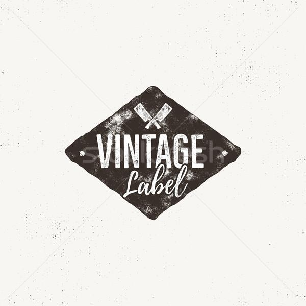 Vintage handgemaakt label ontwerp effect Stockfoto © JeksonGraphics