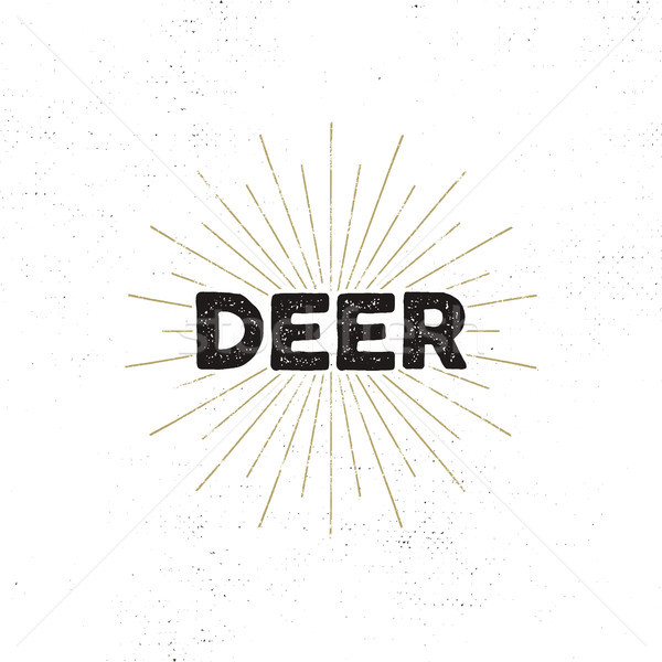 Deer typography insignia. Text and sunbursts. Isolated on white background. Silhouette retro design. Stock photo © JeksonGraphics