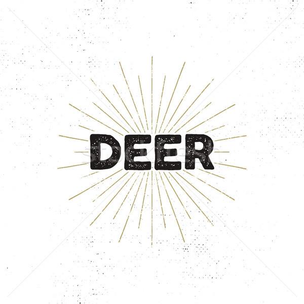 Cerfs typographie insigne texte isolé blanche Photo stock © JeksonGraphics