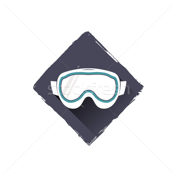 snowboard glasses logo design, symbol. Stock vector illustration with shadow. Isolated on white back Stock photo © JeksonGraphics