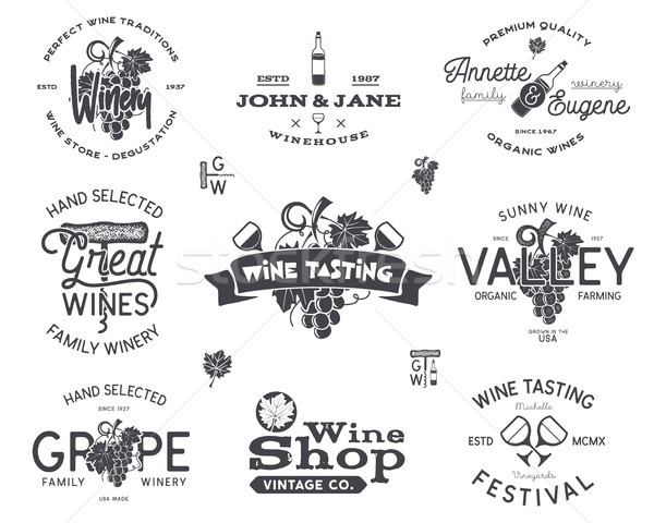 Wine logos, labels set. Winery, wine shop, vineyards badges collection. Retro Drink symbol. Typograp Stock photo © JeksonGraphics