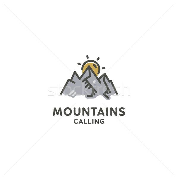 Montanhas chamada bonitinho linha arte estilo Foto stock © JeksonGraphics