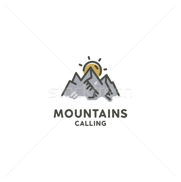 Mountains are calling flat concept. Cute line art style. Adventure line art logo template. Mountain  Stock photo © JeksonGraphics
