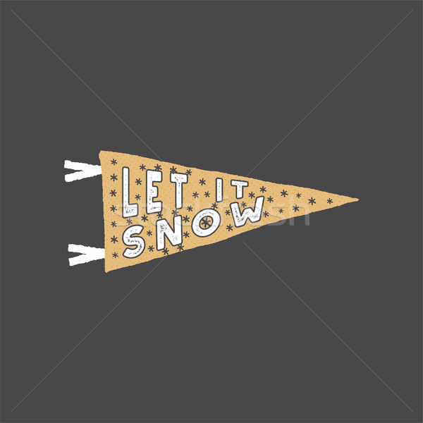 Winter theme pennant. Let it snow typography quote, wish. New Year lettering, sayings, vintage label Stock photo © JeksonGraphics
