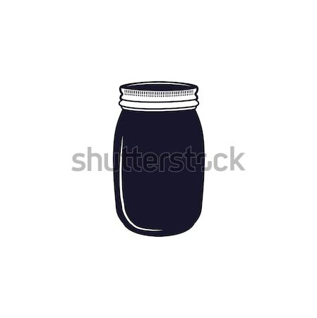 Vintage hand drawn silhouette jar symbol. Cute monochrome style. Stock vector illustration isolated  Stock photo © JeksonGraphics