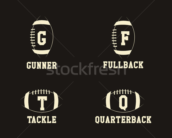 American football badge monograms with players positions, sport logo, label, insignia set in retro c Stock photo © JeksonGraphics
