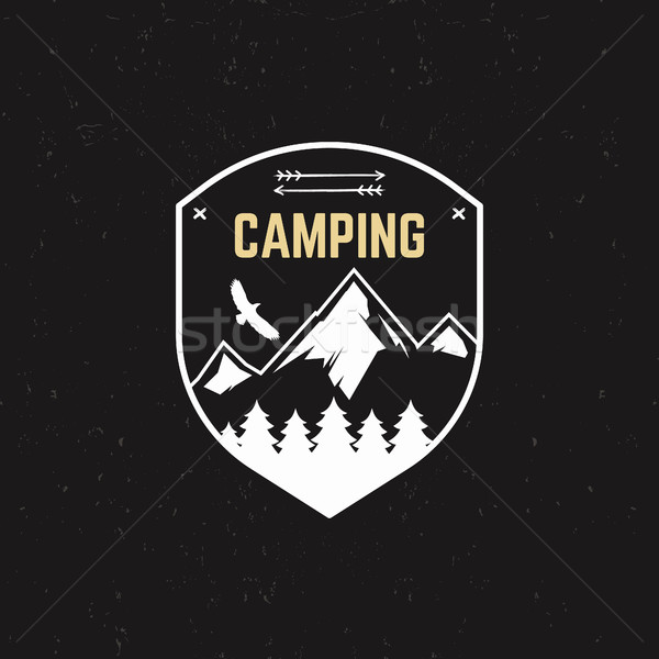 Stock photo: Stamp for outdoor camp. Tourism hipster style patch and badge. Expedition emblem. Winter or summer c
