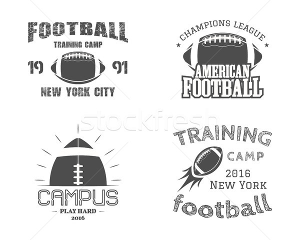 Set of american football team campus badges, logos, labels, insignias in retro monochrome style. Gra Stock photo © JeksonGraphics