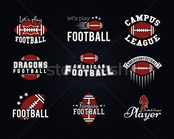 Amerikai futball csapat főiskola jelvények logók Stock fotó © JeksonGraphics