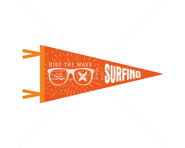 Surfing pennant. Summer Pennant flag design. Vintage surf emblem with glasses, longboard, sunburst.  Stock photo © JeksonGraphics