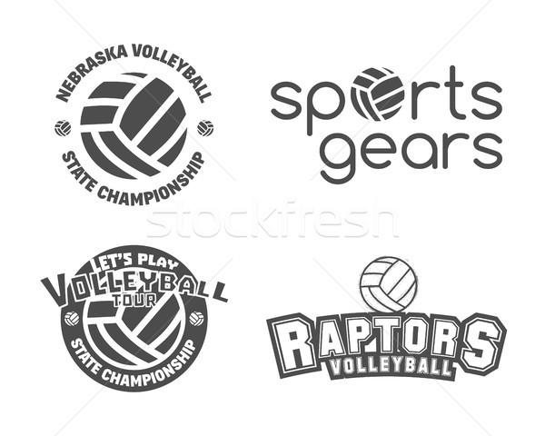 Stock fotó: Röplabda · címkék · jelvények · logo · ikon · szett · sportok