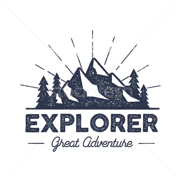 Outdoor explorer badge. Retro illustration of label. Typography and roughen style. logo with letterp Stock photo © JeksonGraphics