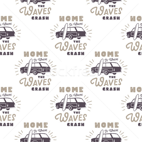 Surfing old style car pattern design. Summer seamless wallpaper with surfer van, surfboards, sunburs Stock photo © JeksonGraphics