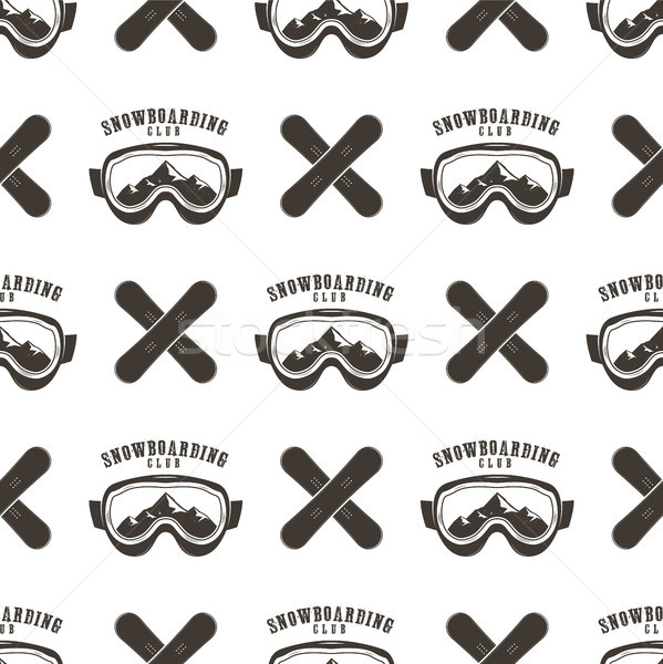 Snowboard seamless background. Winter ski pattern design with boards, snowboards mask and typography Stock photo © JeksonGraphics