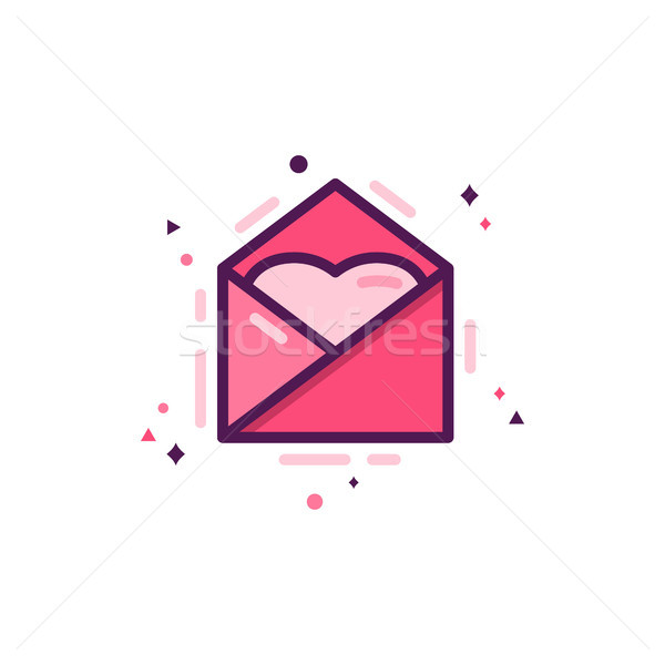 Love message icon with heart, happy valentines day flat concept. Holiday pictogram for brochures, fl Stock photo © JeksonGraphics