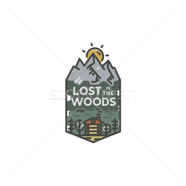 Stock photo: Vintage hand drawn travel badge. Camping label concept. Mountain expedition logo design. Travel badg