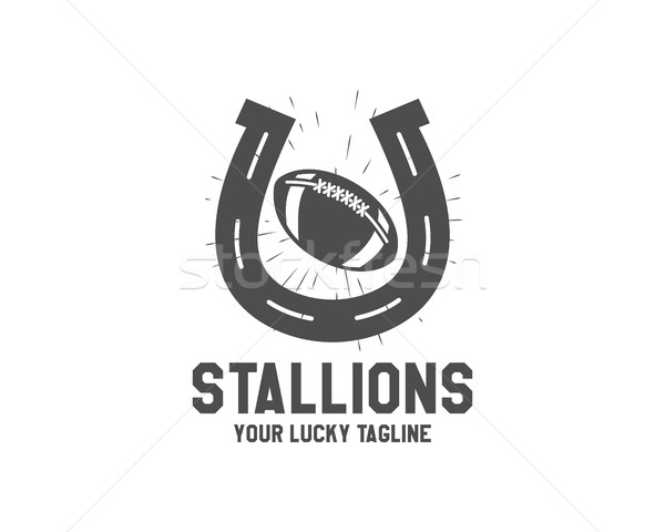 Vector American football lucky horseshoe label Unusual sports emblem design Usa sport logo concept w Stock photo © JeksonGraphics