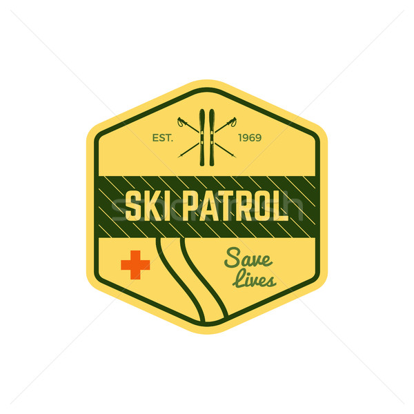 Ski Patrol Label. Vintage Mountain winter sports explorer badge. Outdoor adventure logo design. Trav Stock photo © JeksonGraphics