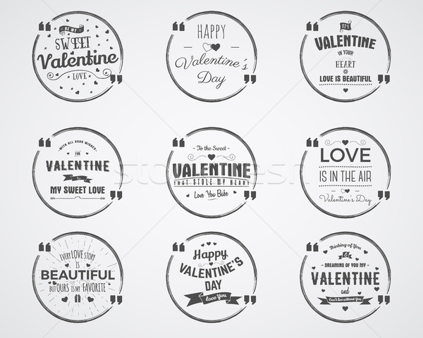 Vector photo overlays, hand drawn lettering collection, inspirational quote. Valentine day badges se Stock photo © JeksonGraphics