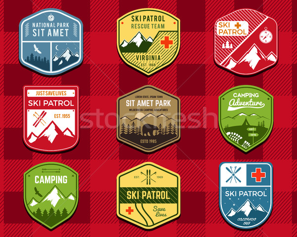 Set of Ski Club, Patrol Labels. Retro Mountain winter camping explorer badges. Outdoor adventure log Stock photo © JeksonGraphics