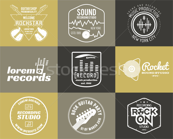 Set of vector music production logo Musical label icons. Music sticker and emblem, print or logotype Stock photo © JeksonGraphics