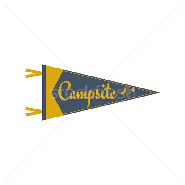 Adventure pennant. Campsite Pennant. Explorer flag design. Vintage camping template. Travel style pe Stock photo © JeksonGraphics