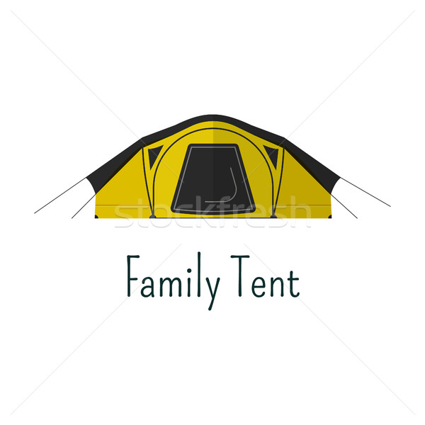 Family tent flat icon. Camping tent color pictogram. Tent symbol for Vacation with family. Summer gr Stock photo © JeksonGraphics