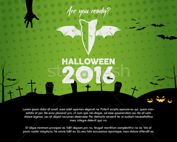 Happy Halloween 2016 green landscape poster. Are you ready lettering and halloween holiday symbols - Stock photo © JeksonGraphics