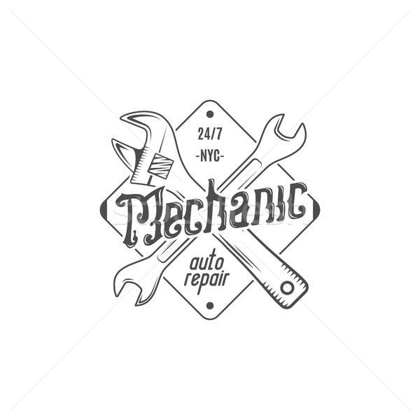 Vintage label design. Mechanic auto repair patch in old style with tools. Use for station, car servi Stock photo © JeksonGraphics
