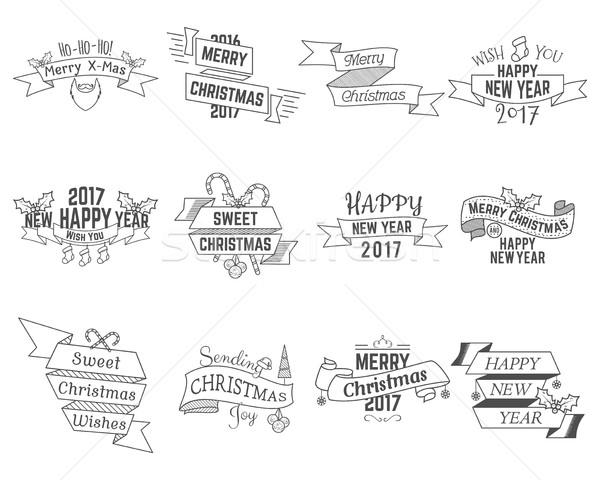 Boldog karácsony kívánságok gyűjtemény szalagok ünnep Stock fotó © JeksonGraphics