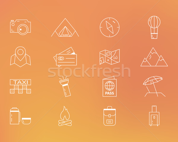 Stock photo: Summer camping and travel outline icons set. Outdoor activity theme. Thin line design. Isolated on o