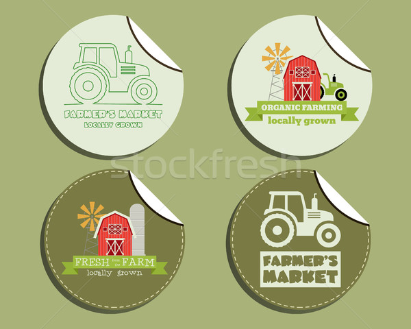 Set of unusual green organic labels - stickers for natural shop, farm products. Ecology theme. Eco d Stock photo © JeksonGraphics