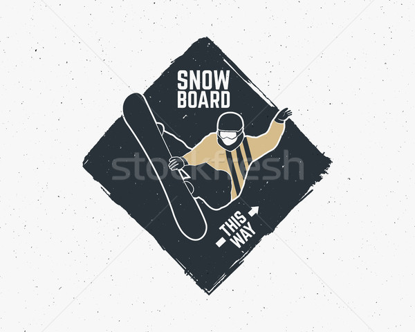 Snowboarding adesivo vintage montanha explorador etiqueta Foto stock © JeksonGraphics