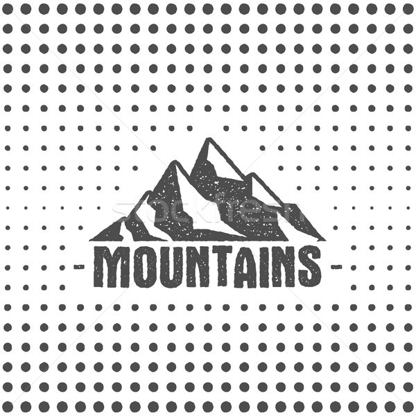 Hand drawn wilderness old style typography poster with retro mountains. Letterpress Print Rubber Sta Stock photo © JeksonGraphics