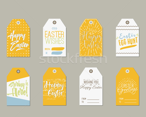 Set of happy easter gift tags with ink lettering signs overlay add to lightbox download comp negle