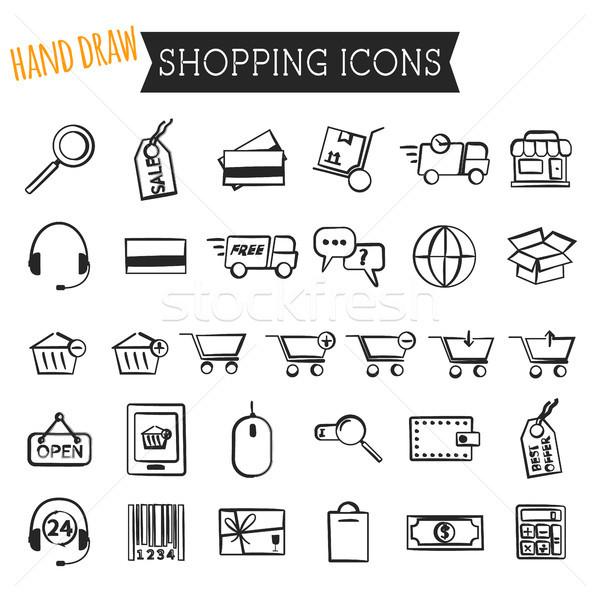 Stock fotó: Szett · online · vásárlás · ikonok · izolált · fehér · kéz