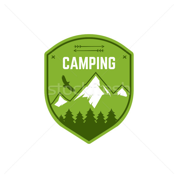 Camping Label. Vintage Mountain winter camp explorer badge. Outdoor adventure logo design. Travel ha Stock photo © JeksonGraphics
