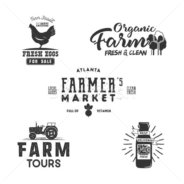 Farmers Market, organic food logo, eco badges set. Fresh and Local product label designs. Farm fresh Stock photo © JeksonGraphics