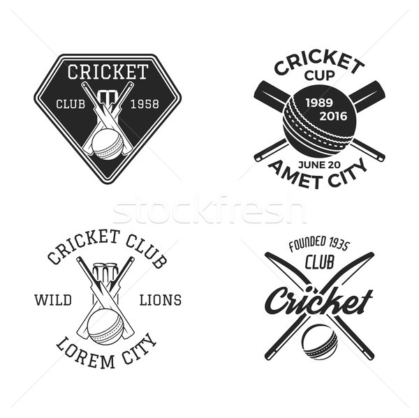 Cricket logo set, sports template emblems elements - ball, bat. Use as icons, badges, label designs  Stock photo © JeksonGraphics