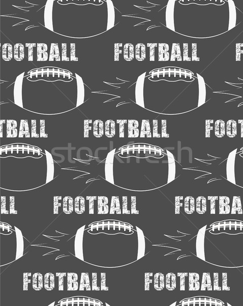 American football ball rocket seamless pattern in retro monochrome style. with rough text. Sports gr Stock photo © JeksonGraphics