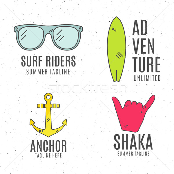Set of minimalistic surfing logo concepts. Summer Thin line flat tropical design. Surfer gear badges Stock photo © JeksonGraphics