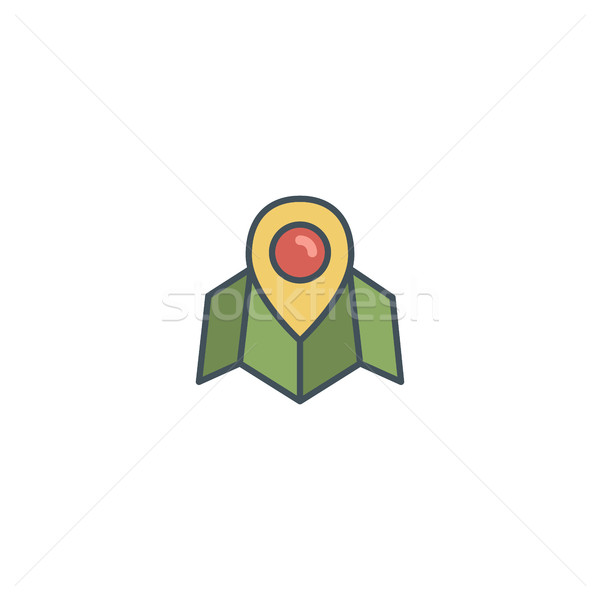 Flat location icon icon with map, pin. Vintage colors vector design. Use on logo templates, infograp Stock photo © JeksonGraphics