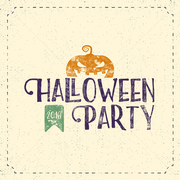 Halloween 2016 party label template with pumpkin and typography elements. Vector text with retro gru Stock photo © JeksonGraphics