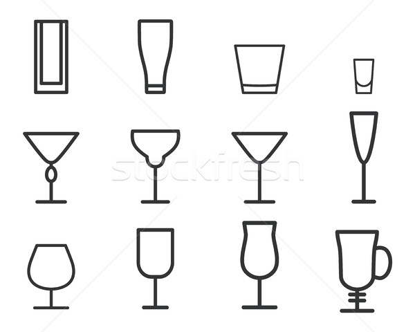 Beverage vector thin line symbol icon. Cocktails. Party outline elements isolated on white backgroun Stock photo © JeksonGraphics
