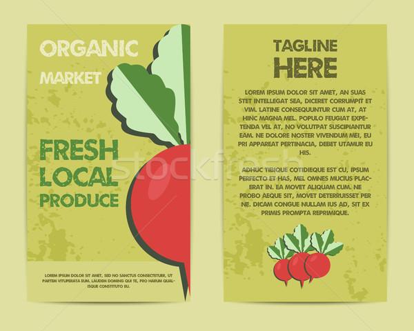 Elegáns farm friss szórólap sablon brosúra Stock fotó © JeksonGraphics