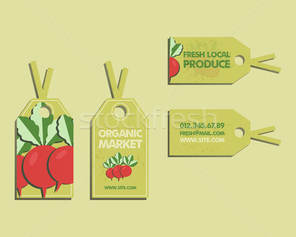 Summer Farm Fresh sticker, template or brochure design with radish. Mock up design with shadow. Best Stock photo © JeksonGraphics