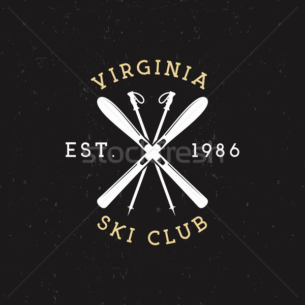 Hiver sport ski club étiquette vintage Photo stock © JeksonGraphics