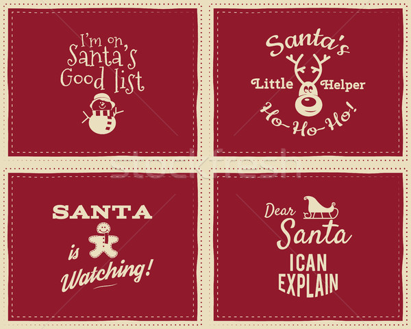 Set of unique Christmas funny signs, quotes backgrounds designs for kids - Santa i can explain. Nice Stock photo © JeksonGraphics