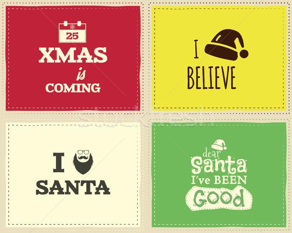 Karácsony egyedi vicces felirat idézet terv Stock fotó © JeksonGraphics