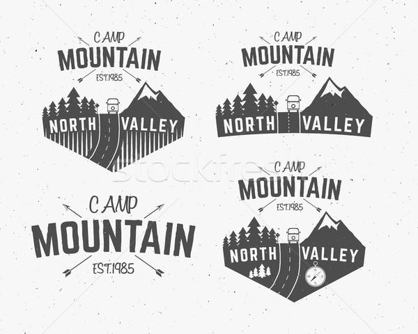 Set of Mountain camp vintage explorer labels Outdoor adventure logo design Travel hand drawn and hip Stock photo © JeksonGraphics
